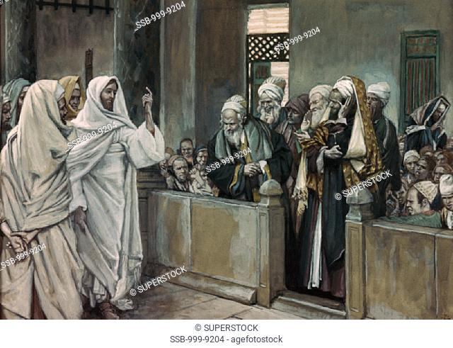 Priests Ask Jesus By Whose Authority He Acts James Tissot (1836-1902 French)