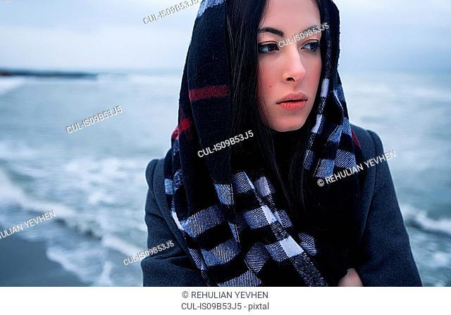 Woman on winter vacation, Odessa, Ukraine