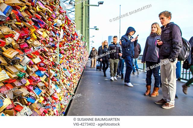 Hohenzollern Bridge with love padlocks. - COLOGNE, NORTH RHINE-WESTFALIA, Germany, 18/01/2014