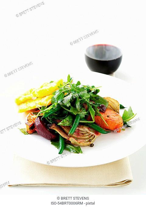 Plate of roast vegetable salad
