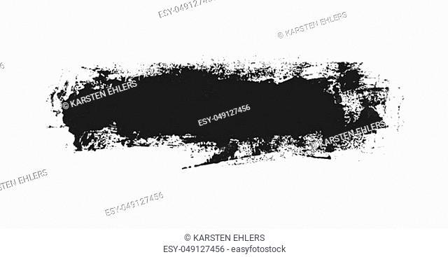 Very dirty isolated black paintbrush stripe