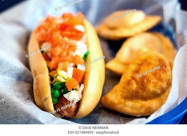 Hotdog with pierogis