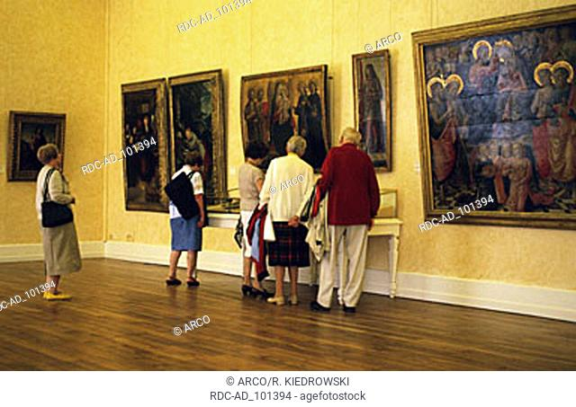 Visitors in art museum Musee des Beaux Arts Dijon Cote d'Or Burgundy France
