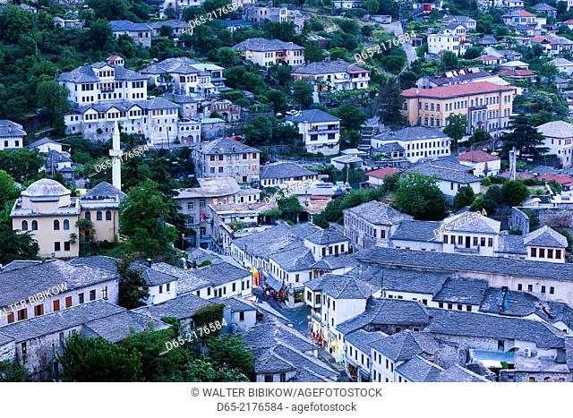 Albania, Gjirokastra, elevated town view from the castle, dusk