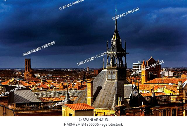 France, Haute Garonne, Toulouse, horizontal view of the steeple of the church of Notre Dame du Taur and roofs of downtown