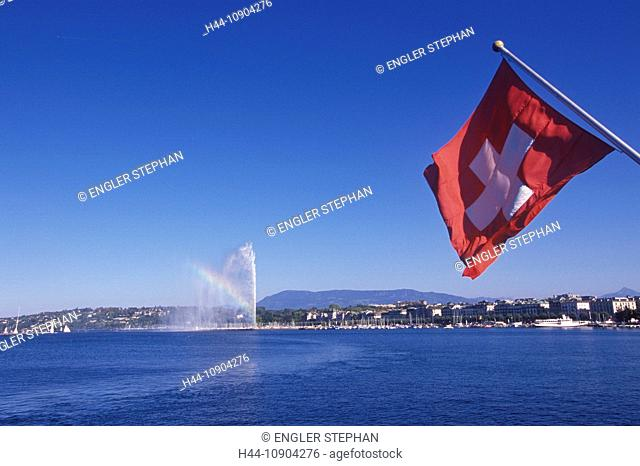 Switzerland, Europe, Genève, Geneva, scenery, panorama, ship, flag, Jet d'eau, fountain, canton, town, city, lake, Lac Léman, lake Geneva