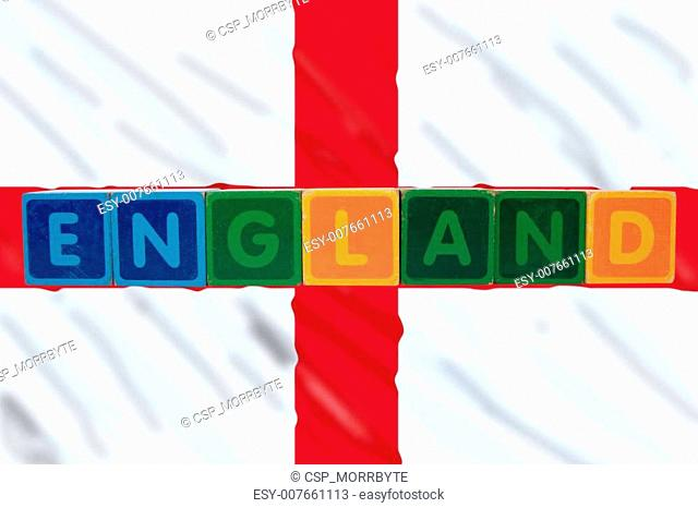 england and flag in toy block letters