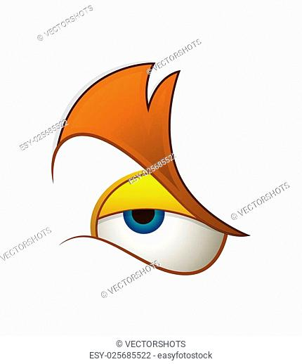 Angry Cartoon Eye Expression Vector Illustration