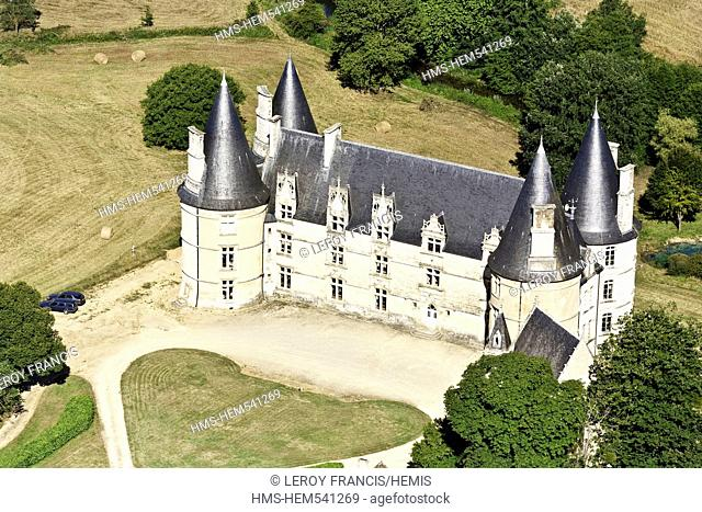 France, Vienne, Magne, The construction of the castle of Roche extends from the late fifteenth to the 18th century the park was designed by Le Notre aerial view