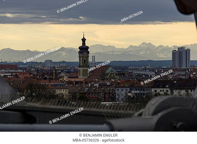 View on the Alps, Olympic stadium, Munich, Germany