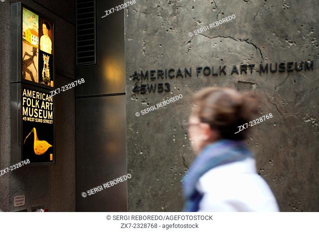 American Folk Art Museum - New York City. NYC. USA. The American Folk Art Museum is an art museum in the Upper West Side of Manhattan, at 2, Lincoln Square