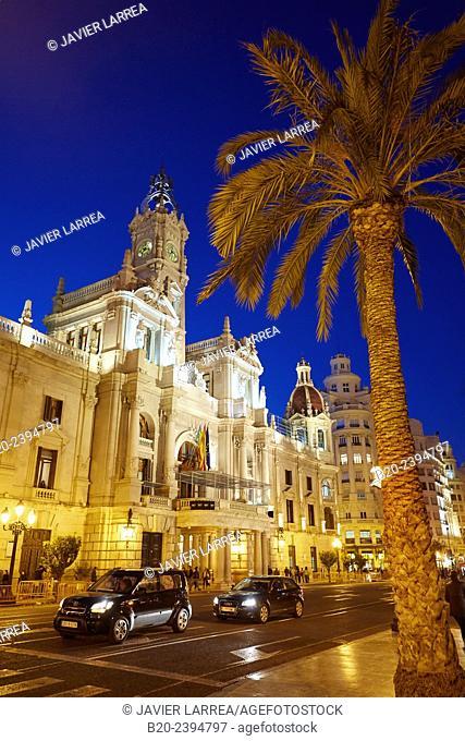 Plaza del Ayuntamiento square. Town hall. Valencia. Comunidad Valenciana. Spain