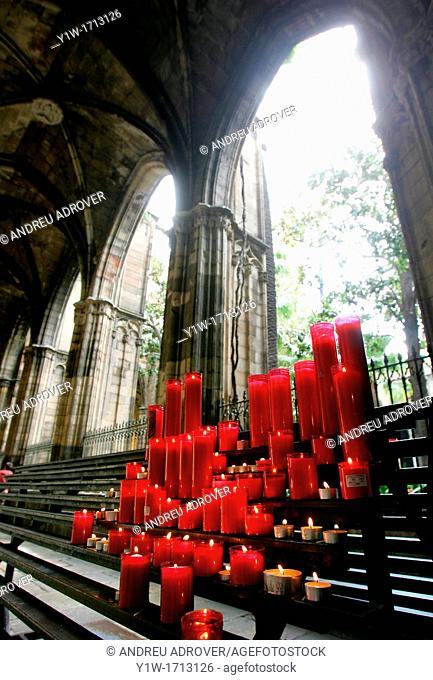 Votive candles. Cathedral of Barcelona. Spain