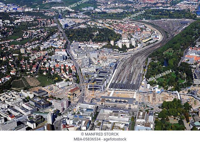 Aerial picture, Stuttgart21 long shot, central station building site, railway track, European quarter, middle castle garden, Prague cemetery, Heilbronn street