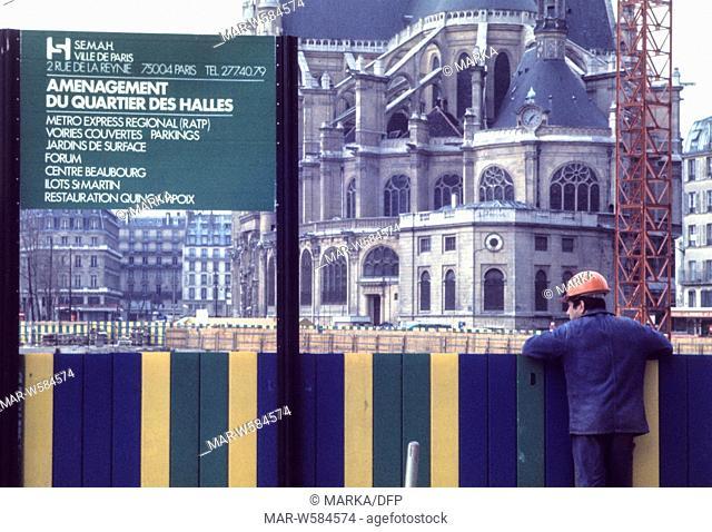france, paris, arrangement of les halles headquarters, 70's