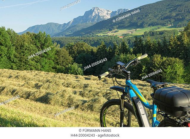 with the E bike all near Teisendorf with the Hochstaufen in the background