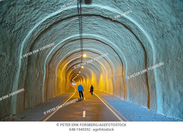 Former railway tunnel converted into cycling and walking path Zizkov district Prague Czech Republic Europe