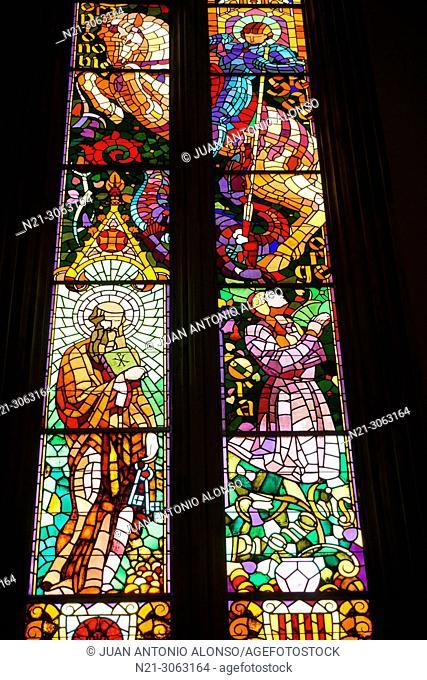 Stained glass window, Sant Joan Church, Reus, Tarragona province, Catalonia, Spain