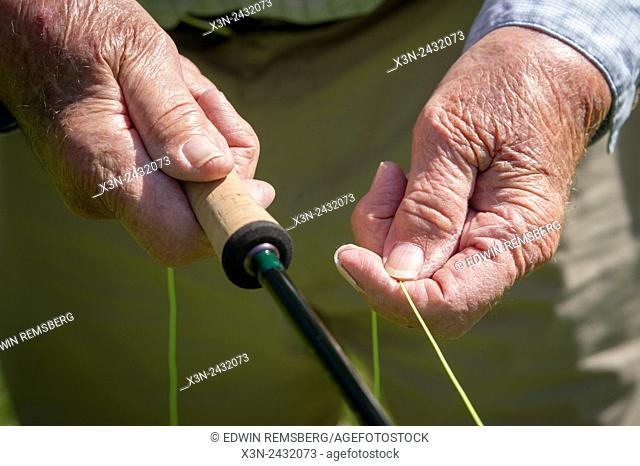 Close-up of Lefty Kreh's hands holding his cork handled fishing rod and fishing line in Timonium, Maryland, USA