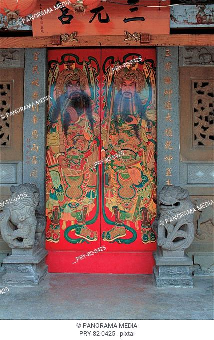 the door God on the door of the Sanyuan Palace at Xinzhu,Taiwan Province,China
