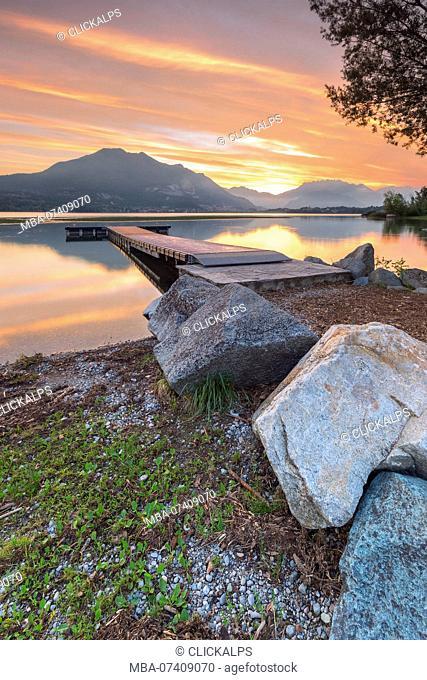 Sunrise on lake Pusiano, Como and Lecco province, Brianza, Lombardy, Italy, Europe