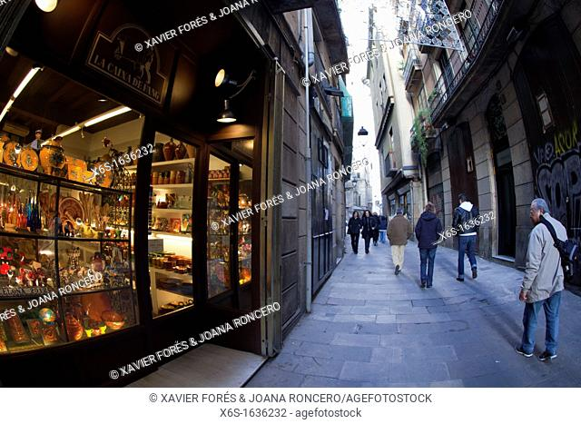 Streets, downtown of Barcelona, Spain