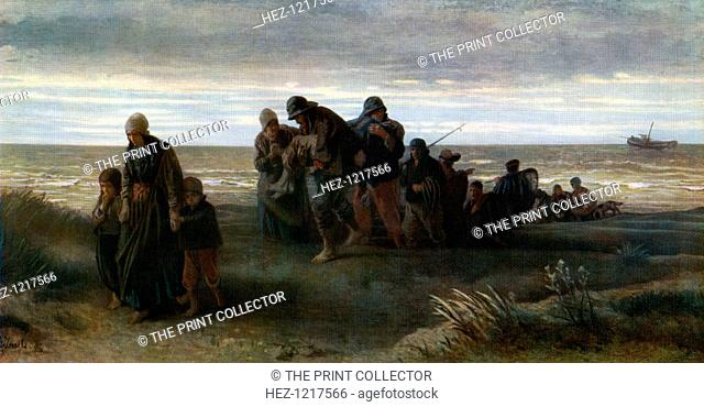 'Fishermen carrying a Drowned Man', c1861, (1912). A colour print from Famous Paintings, with an Introduction by Gilbert Chesterton, Cassell and Company