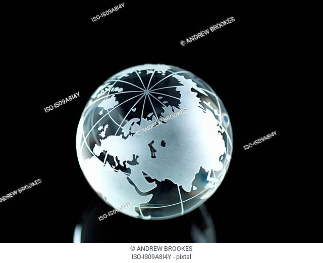 Glass Globe illustrating Asia, India, China, Russia, Africa, Saudi Arabia, Middle East