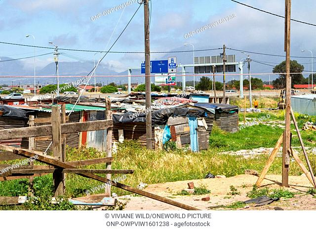 South Africa, Western Cape, Cape, View over small cottages in Langa, Langa is a district of Cape Town in the South African province of Western Cape