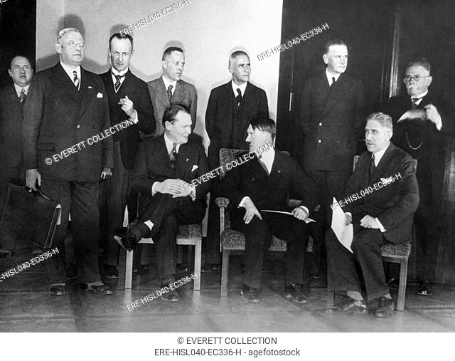Adolf Hitler and his Cabinet, January 30, 1933, the day he became Prime Minister of Germany. Seated, L-R: Goering, without portfolio, Adolf Hitler