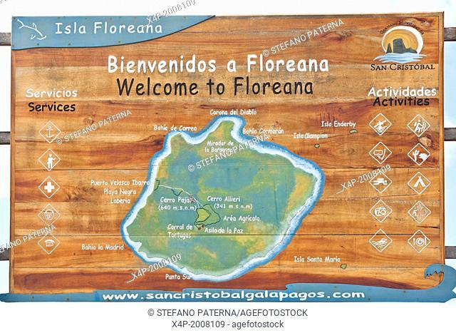 Map, Floreana Island, Galapagos Islands, Ecuador