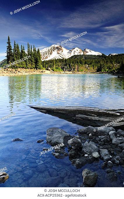 Mount Price and Clinker Peak provide a beautiful backdrop to Garibaldi Lake and the Battleship Islands in Garibaldi Provincial Park near Whistler BC