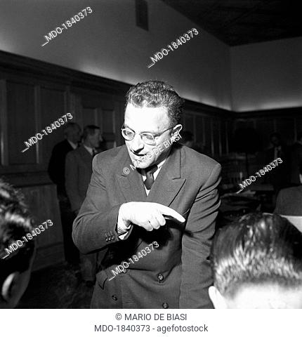 Italian politician Alfons Benedikter, founder of the South Tyrolean People's Party, speaking during the regional election in Trentino-Alto Adige/Sudtirol
