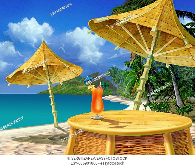 Digital Painting, Illustration of a Summer Drink on a Tropical Beach in Realistic Cartoon Style