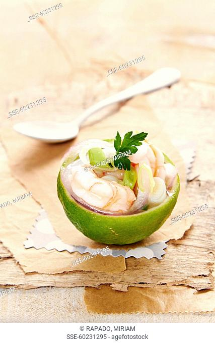 Lime stuffed with shrimp ceviche