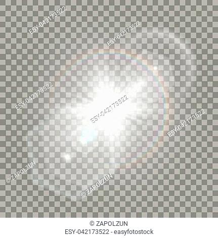 White star explosion with flare effect. Transparent glares, particles and rainbow naturally looking like camera distortion