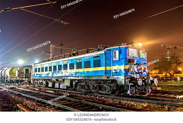 Locomotive with a freight train at Agra Cantonment railway station. Uttar Pradesh State of India