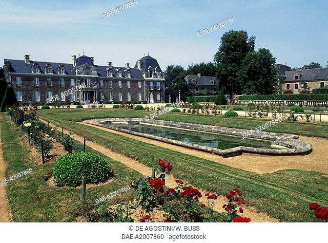 View of the park and the Chateau de Caradeuc, near Plouasne, Brittany. France, 18th-19th century