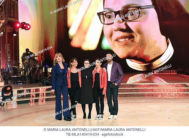 Milly Carlucci, Sister Cristina with the dancers at the talent show ' Ballando con le stelle ' (Dancing with the stars) Rome, ITALY-14-04-2019