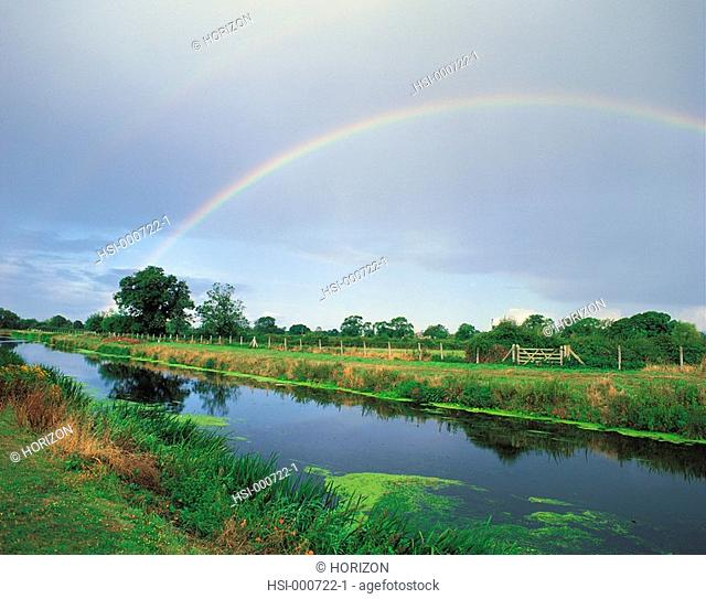 Rainbow over landscape and River Tone in Somerset, England