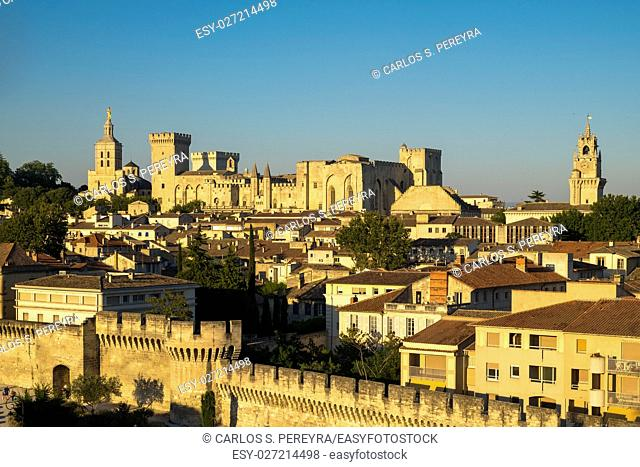 Exterior of Palais des Papes, UNESCO World Heritage Site, and church, Avignon, Vaucluse, Provence, France, Europe