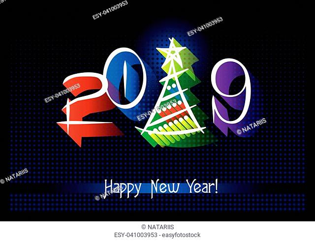 2019. Happy New Year. Abstract Greeting card. Vector illustration