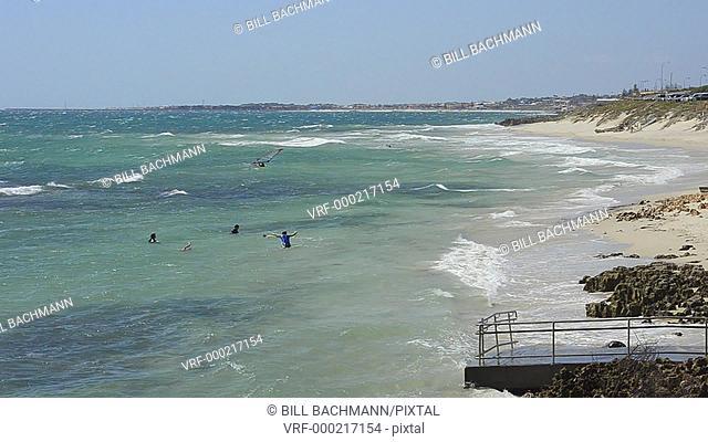 Perth Australias beautiful shoreline and rocks with waves in North Beach area in Western Australia in Australia