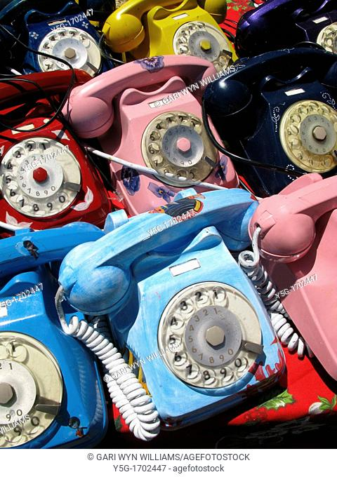 old style telephones for sale on bric a brac antique market stall