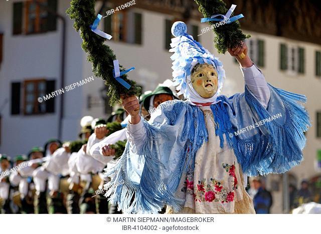 Fasching carnival, Unsinniger Donnerstag, Schellenrührer, Mittenwald, Werdenfelser Land, Upper Bavaria, Bavaria, Germany
