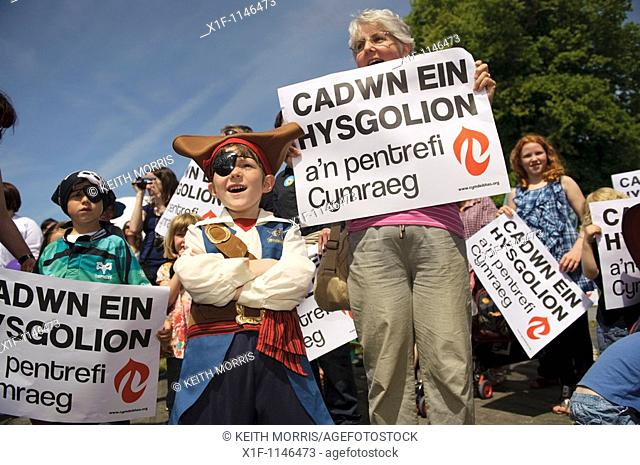 A protest by members of the Welsh Language Society against closure of small rural schools, at the Urdd Eisteddfod Llanerchaeron Ceredigion 2010