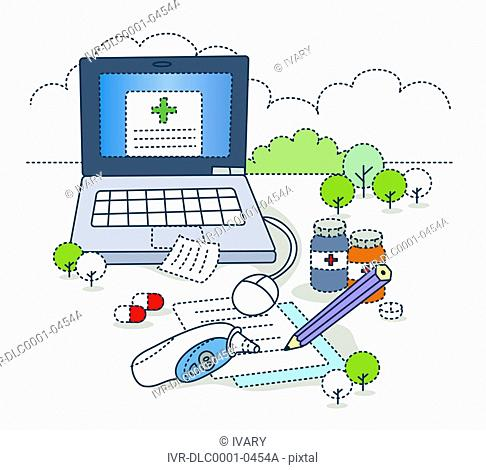 Illustration of medical equipments and laptop