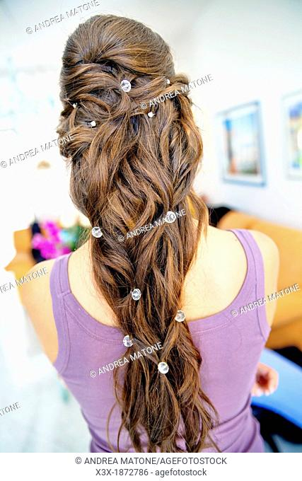 Woman ponytail with beads