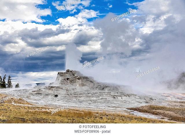 USA, Wyoming, Yellowstone National Park, Upper Geyser Basin, Castle Geyser erupting