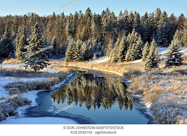 Junction Creek in early winter with a dusting of fresh snow, Greater Sudbury (Lively), Ontario, Canada